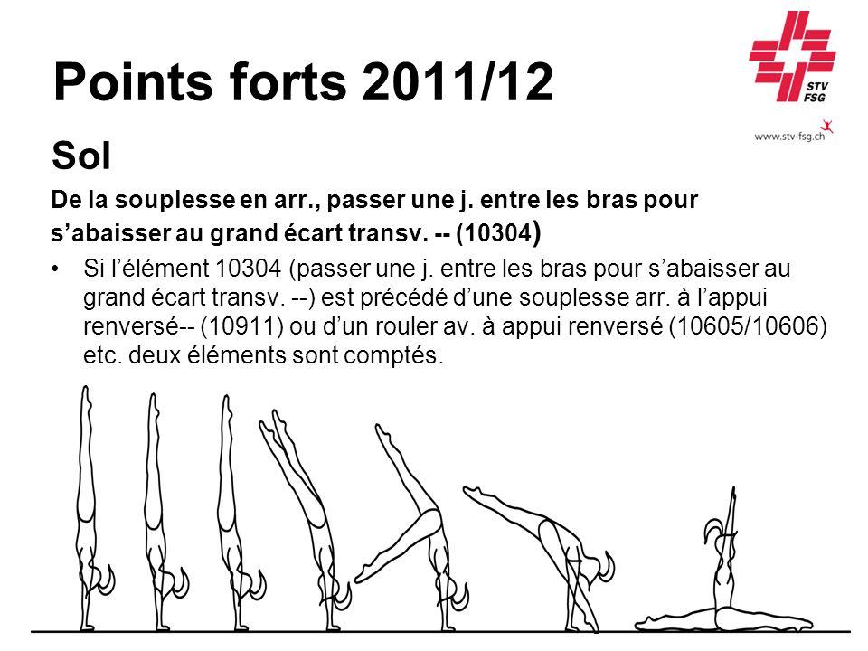Points forts 2011/12 Sol De la souplesse en arr., passer une j. entre les bras pour sabaisser au grand écart transv. -- (10304 ) Si lélément 10304 (pa