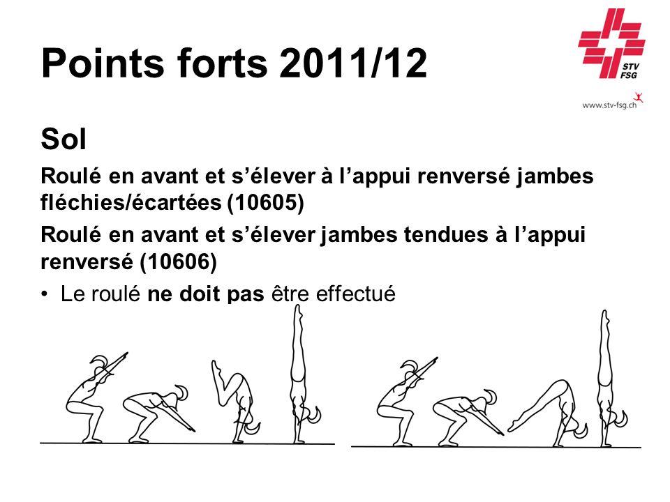 Points forts 2011/12 Sol Roulé en avant et sélever à lappui renversé jambes fléchies/écartées (10605) Roulé en avant et sélever jambes tendues à lappu