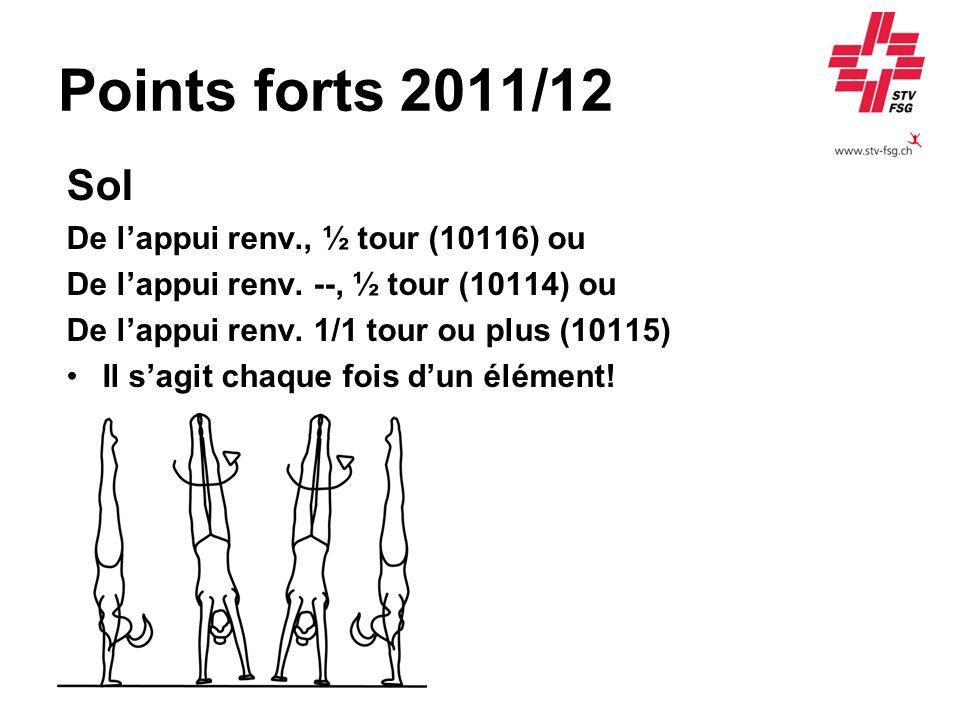 Points forts 2011/12 Sol De lappui renv., ½ tour (10116) ou De lappui renv. --, ½ tour (10114) ou De lappui renv. 1/1 tour ou plus (10115) Il sagit ch