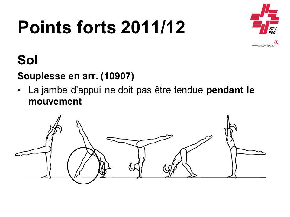 Points forts 2011/12 Sol Souplesse en arr. (10907) La jambe dappui ne doit pas être tendue pendant le mouvement