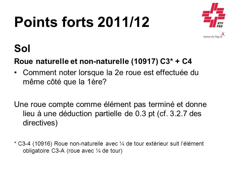 Points forts 2011/12 Sol Roue naturelle et non-naturelle (10917) C3* + C4 Comment noter lorsque la 2e roue est effectuée du même côté que la 1ère? Une
