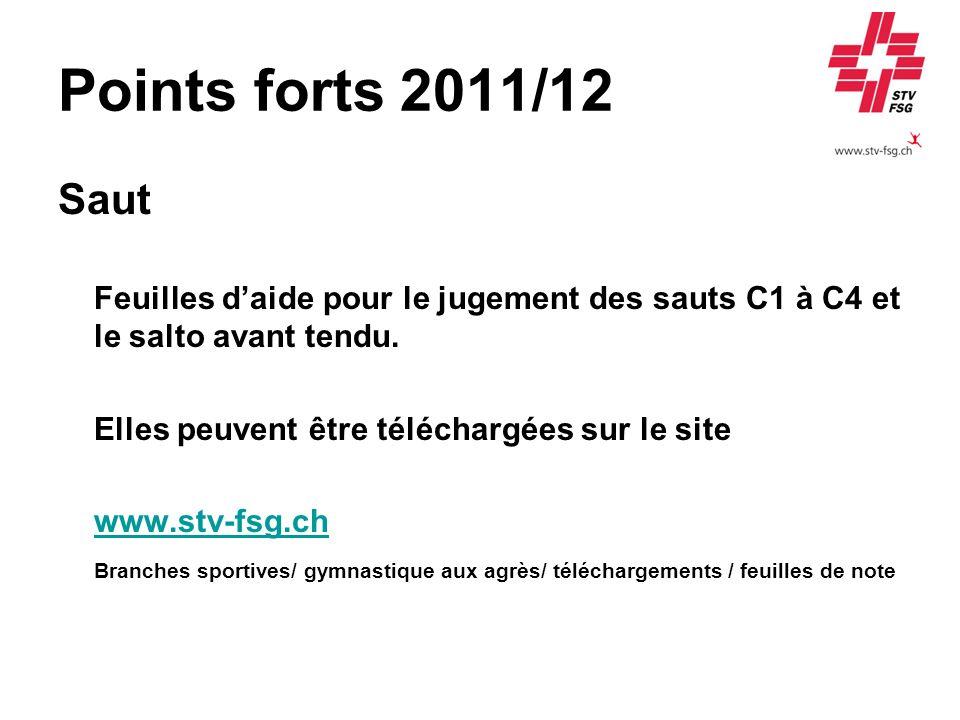 Points forts 2011/12 Saut Feuilles daide pour le jugement des sauts C1 à C4 et le salto avant tendu. Elles peuvent être téléchargées sur le site www.s