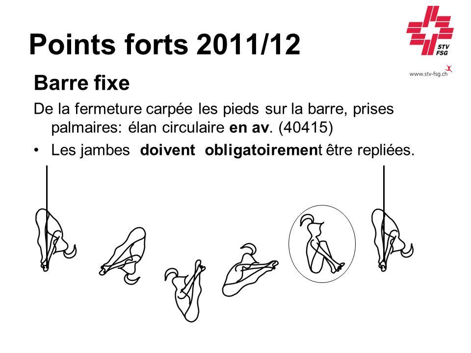 Points forts 2011/12 Barre fixe De la fermeture carpée les pieds sur la barre, prises palmaires: élan circulaire en av. (40415) Les jambes doivent obl