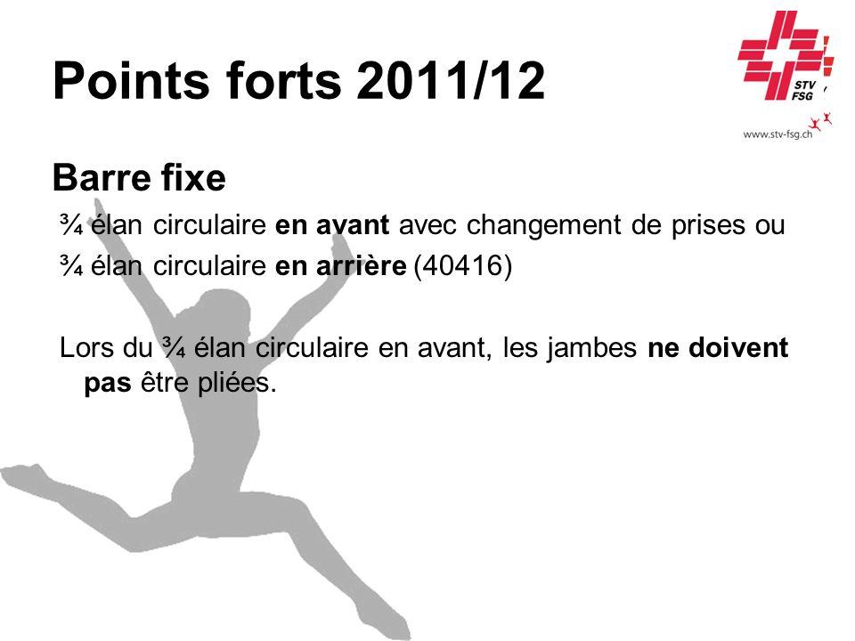 Points forts 2011/12 Barre fixe ¾ élan circulaire en avant avec changement de prises ou ¾ élan circulaire en arrière (40416) Lors du ¾ élan circulaire