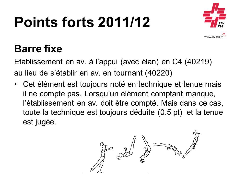Points forts 2011/12 Barre fixe Etablissement en av. à lappui (avec élan) en C4 (40219) au lieu de sétablir en av. en tournant (40220) Cet élément est