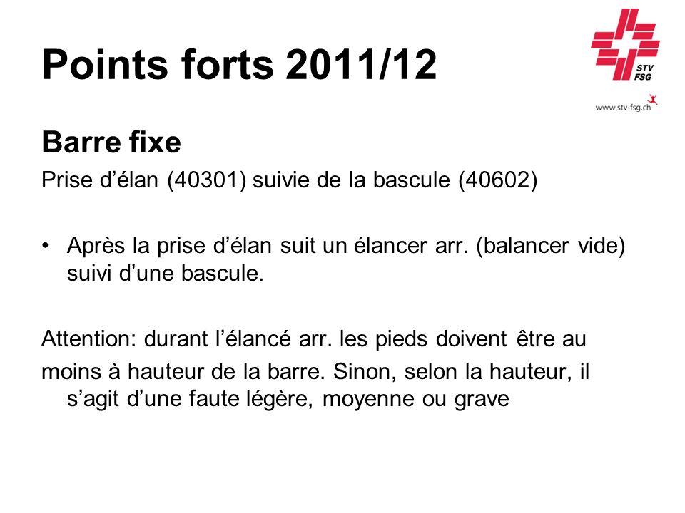 Points forts 2011/12 Barre fixe Prise délan (40301) suivie de la bascule (40602) Après la prise délan suit un élancer arr. (balancer vide) suivi dune
