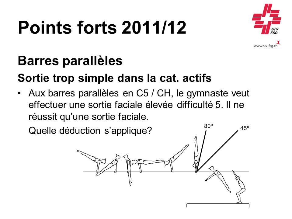 Points forts 2011/12 Barres parallèles Sortie trop simple dans la cat. actifs Aux barres parallèles en C5 / CH, le gymnaste veut effectuer une sortie