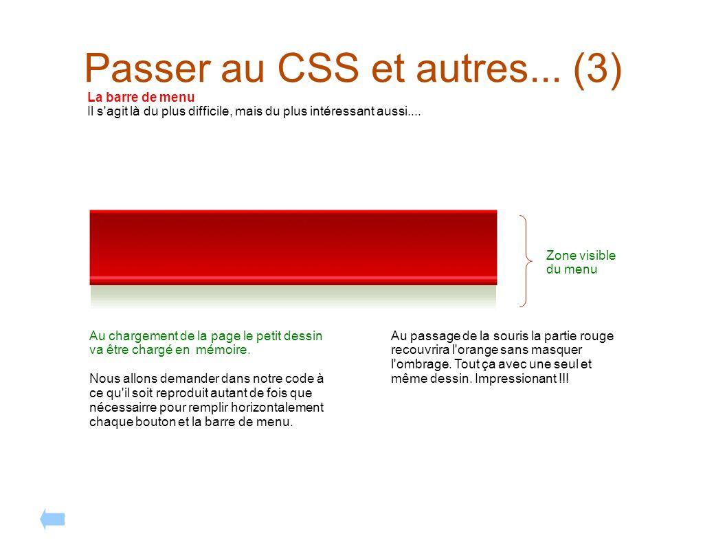 Passer au CSS et autres... (3) La barre de menu Il s'agit là du plus difficile, mais du plus intéressant aussi.... Au chargement de la page le petit d