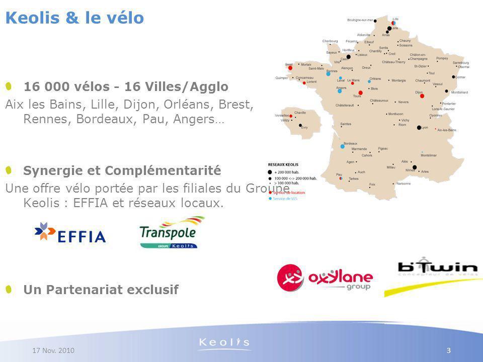 17 Nov. 2010 16 000 vélos - 16 Villes/Agglo Aix les Bains, Lille, Dijon, Orléans, Brest, Rennes, Bordeaux, Pau, Angers… Synergie et Complémentarité Un