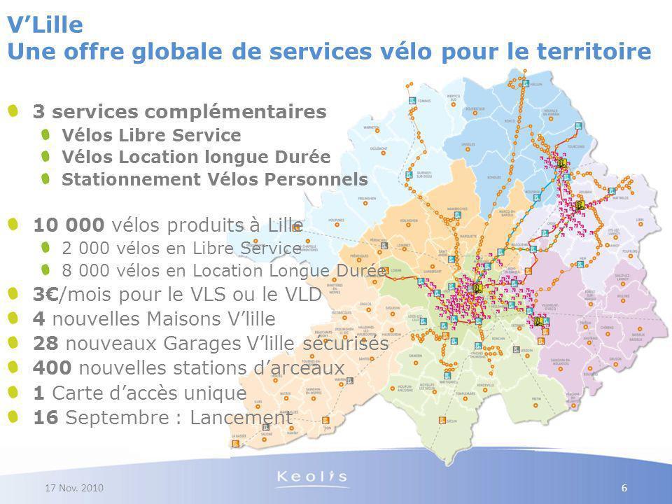 17 Nov. 2010 6 VLille Une offre globale de services vélo pour le territoire 3 services complémentaires Vélos Libre Service Vélos Location longue Durée