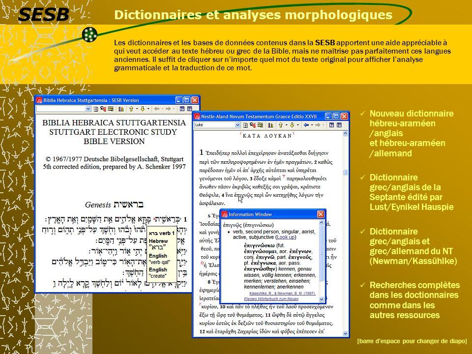 Dictionnaires et analyses morphologiques Les dictionnaires et les bases de données contenus dans la SESB apportent une aide appréciable à qui veut acc
