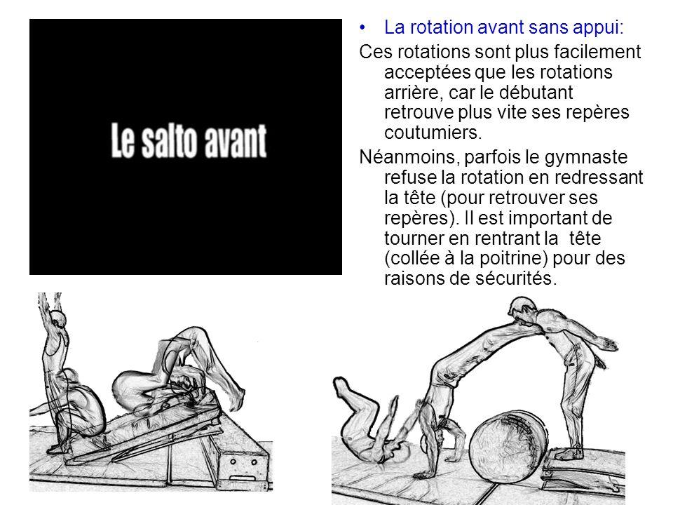 La rotation avant sans appui: Ces rotations sont plus facilement acceptées que les rotations arrière, car le débutant retrouve plus vite ses repères c