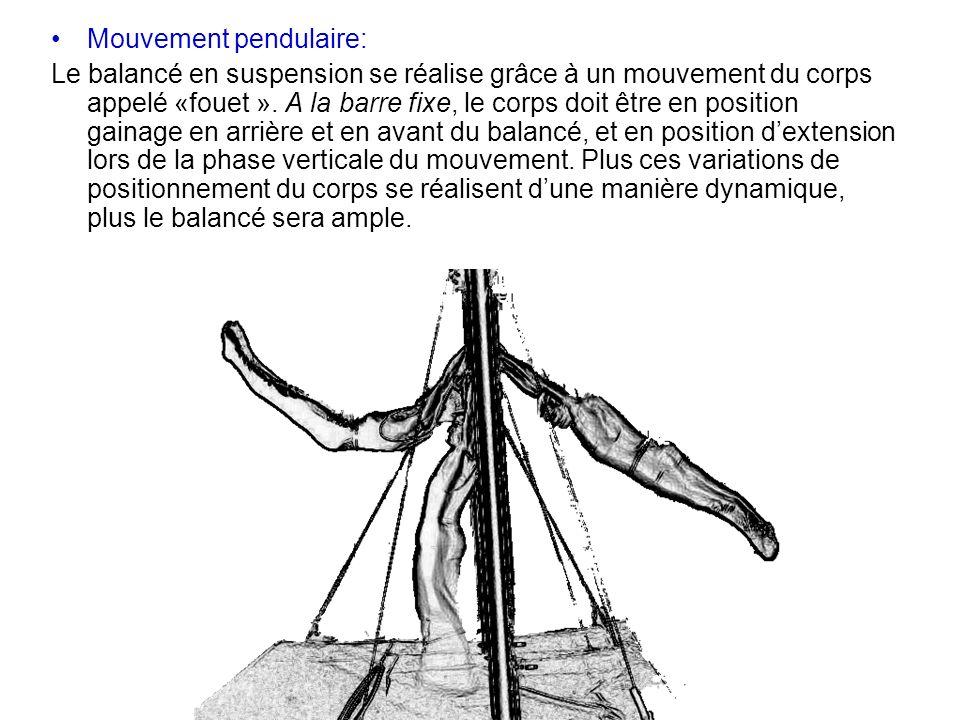 Mouvement pendulaire: Le balancé en suspension se réalise grâce à un mouvement du corps appelé «fouet ». A la barre fixe, le corps doit être en positi