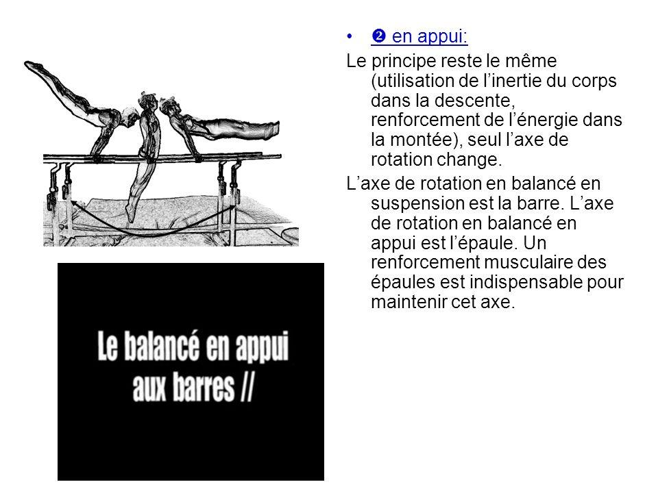 en appui: Le principe reste le même (utilisation de linertie du corps dans la descente, renforcement de lénergie dans la montée), seul laxe de rotatio