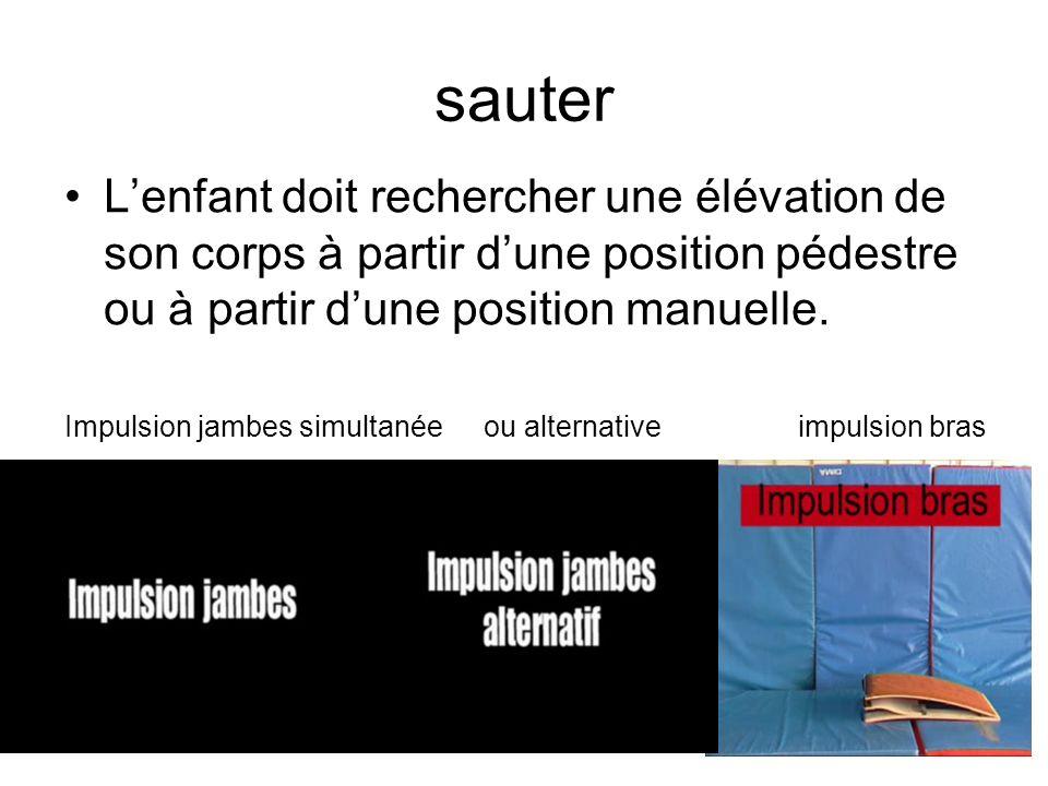 impulsion jambes: Elle permet lélévation du corps avec ou sans rotation (avant, arrière ou longitudinalement).