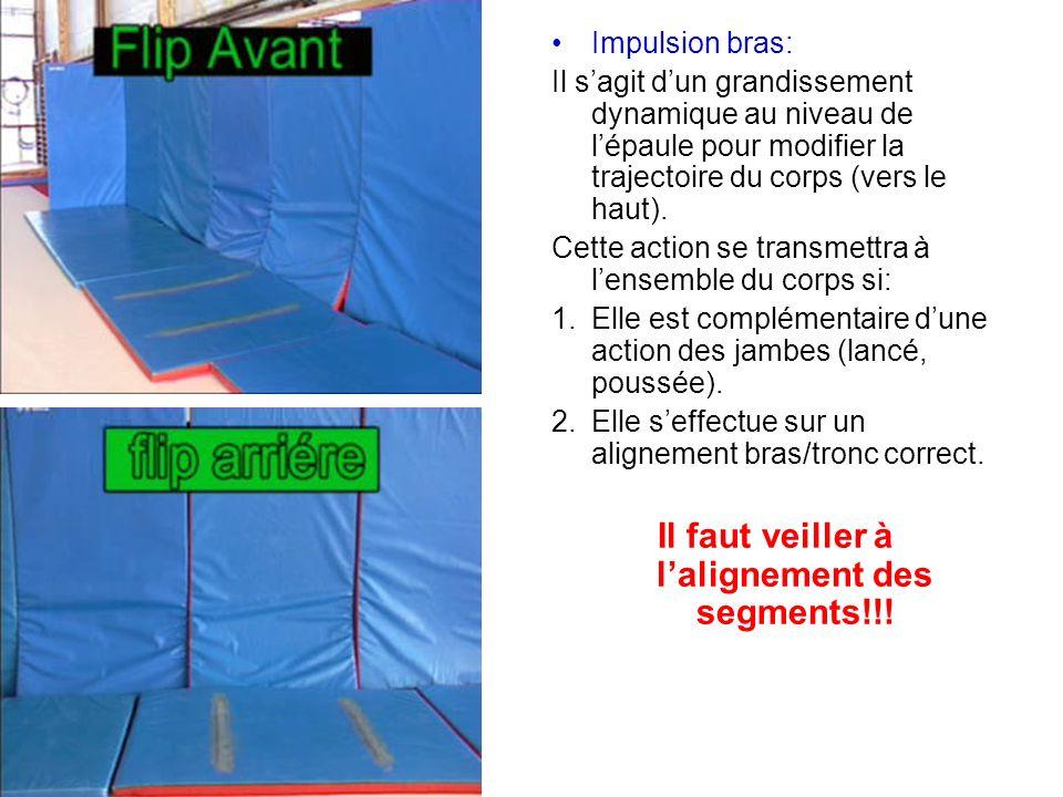 Impulsion bras: Il sagit dun grandissement dynamique au niveau de lépaule pour modifier la trajectoire du corps (vers le haut). Cette action se transm