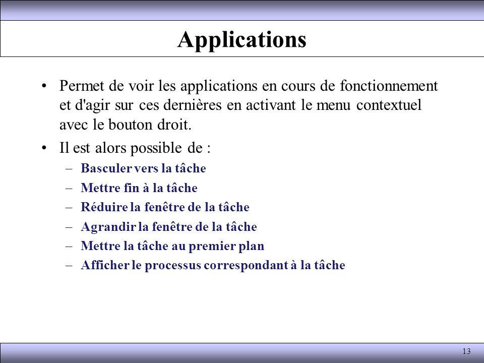 Applications Permet de voir les applications en cours de fonctionnement et d'agir sur ces dernières en activant le menu contextuel avec le bouton droi
