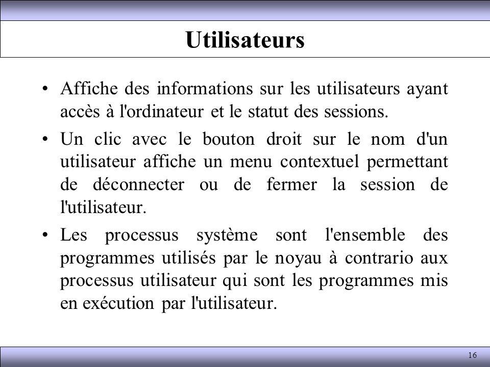 Utilisateurs Affiche des informations sur les utilisateurs ayant accès à l'ordinateur et le statut des sessions. Un clic avec le bouton droit sur le n