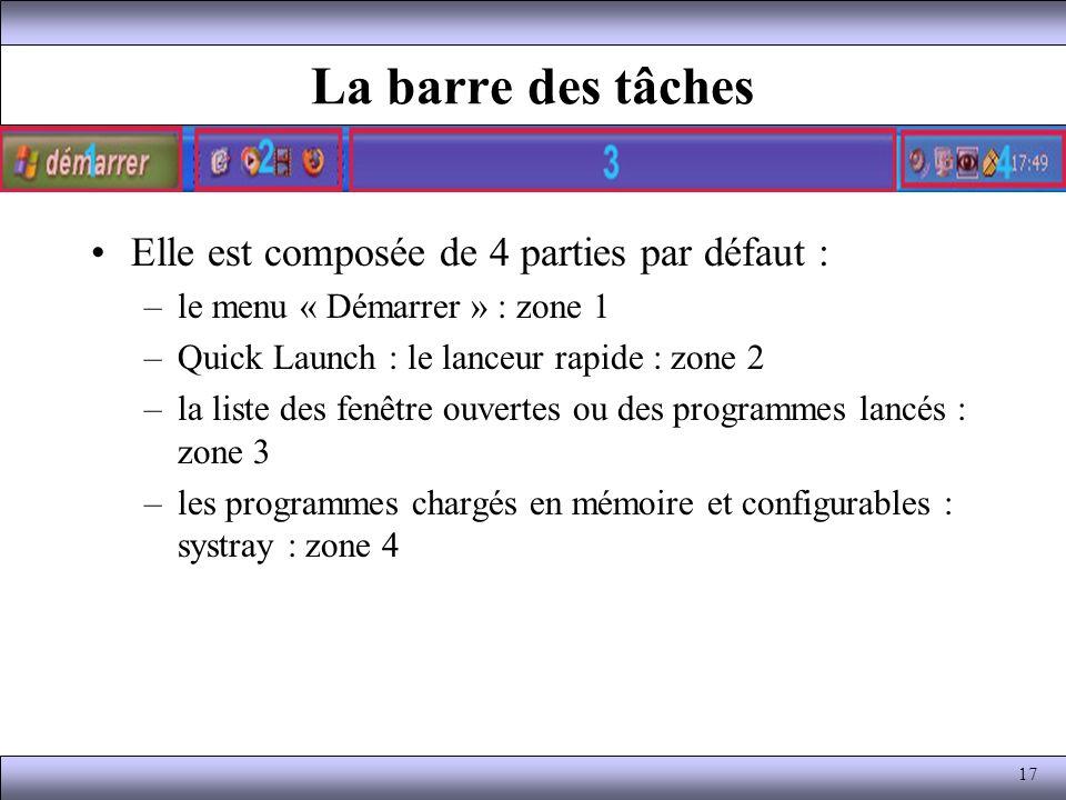 La barre des tâches Elle est composée de 4 parties par défaut : –le menu « Démarrer » : zone 1 –Quick Launch : le lanceur rapide : zone 2 –la liste de
