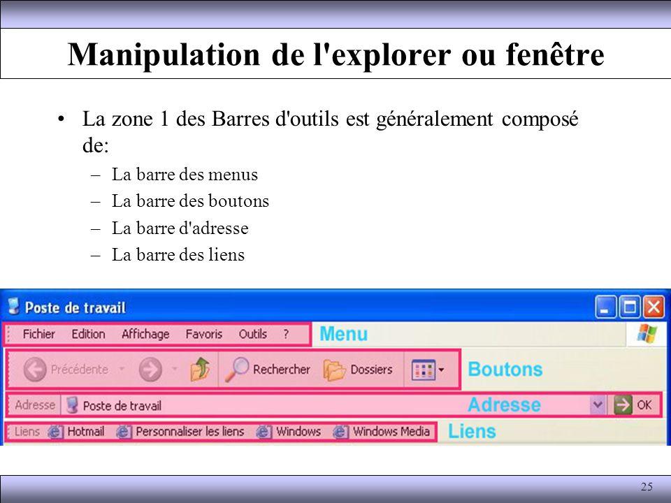 Manipulation de l'explorer ou fenêtre La zone 1 des Barres d'outils est généralement composé de: –La barre des menus –La barre des boutons –La barre d