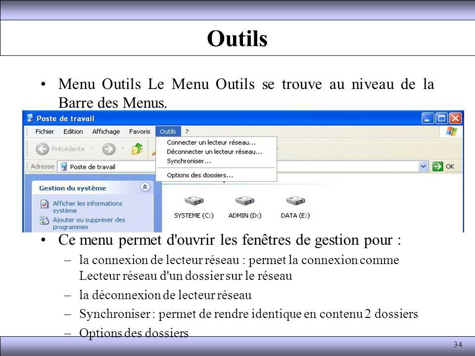 Outils Menu Outils Le Menu Outils se trouve au niveau de la Barre des Menus. Ce menu permet d'ouvrir les fenêtres de gestion pour : –la connexion de l