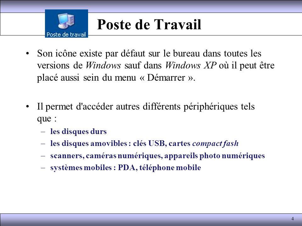 Poste de Travail Un clic droit sur l icône permet d accéder via le menu déroulant à 2 MMC (Microsoft.
