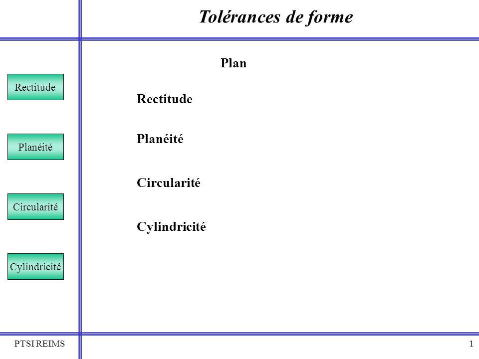 PTSI REIMS2 Tolérances de forme Rectitude Planéité Circularité Cylindricité Cest une tolérance de rectitude La zone de tolérance dans le plan considéré est délimitée par deux droites parallèles distantes de t.