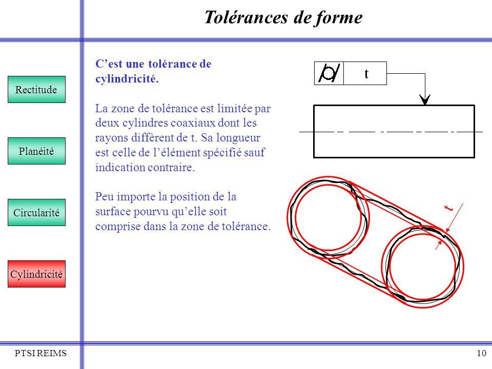 PTSI REIMS10 Tolérances de forme Rectitude Planéité Circularité Cylindricité Cest une tolérance de cylindricité. La zone de tolérance est limitée par