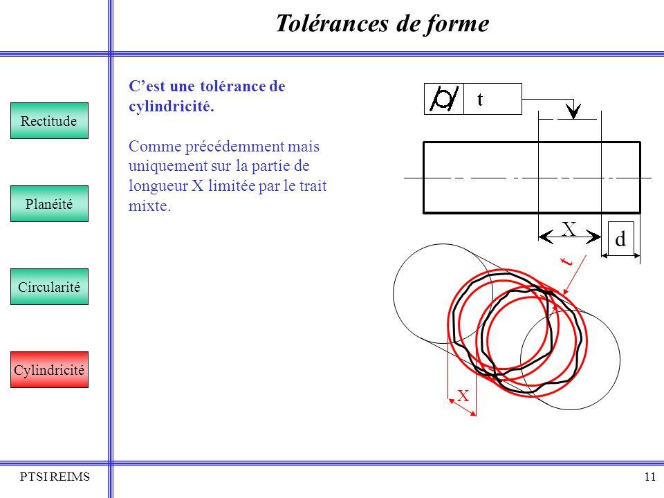 PTSI REIMS11 Tolérances de forme Rectitude Planéité Circularité Cylindricité Cest une tolérance de cylindricité. Comme précédemment mais uniquement su
