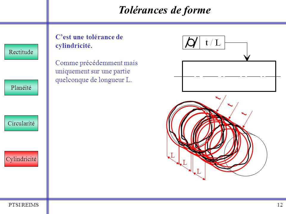 PTSI REIMS12 Tolérances de forme Rectitude Planéité Circularité Cylindricité Cest une tolérance de cylindricité. Comme précédemment mais uniquement su