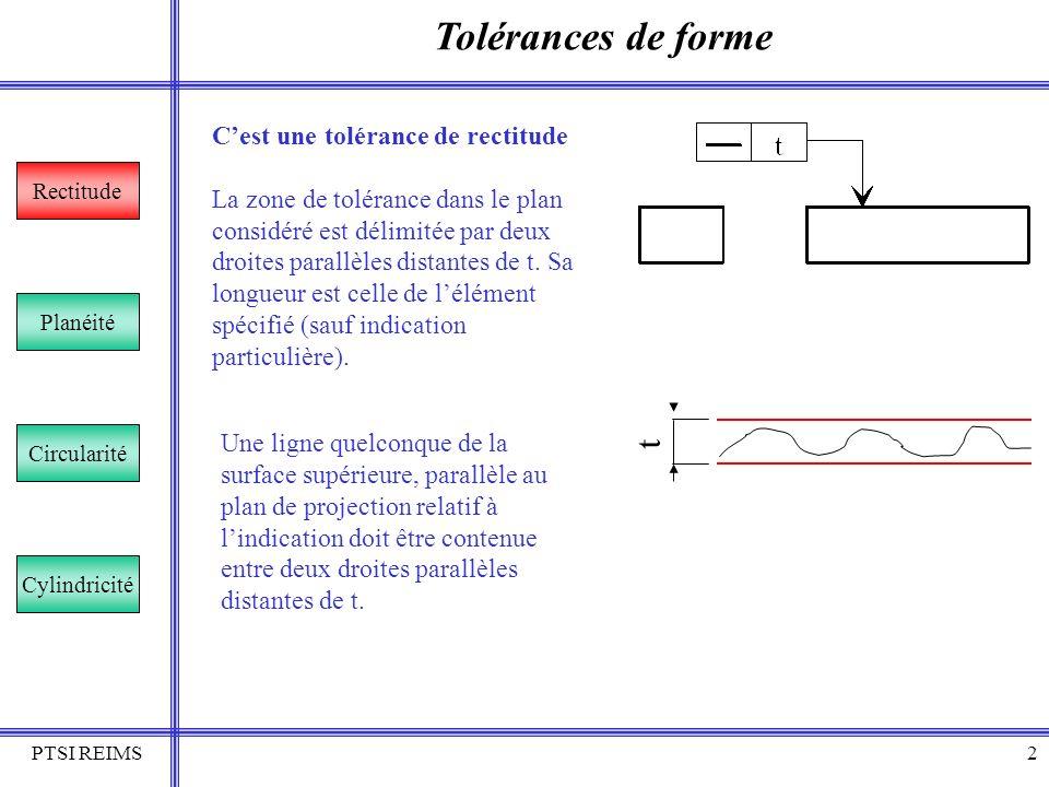 PTSI REIMS3 Tolérances de forme Rectitude Planéité Circularité Cylindricité Cest une tolérance de rectitude Comme précédemment mais uniquement sur la partie de longueur X Une ligne quelconque de la surface supérieure, de longueur X, positionnée le plus souvent par une cote encadrée doit se trouver entre deux droites parallèles distantes de t.