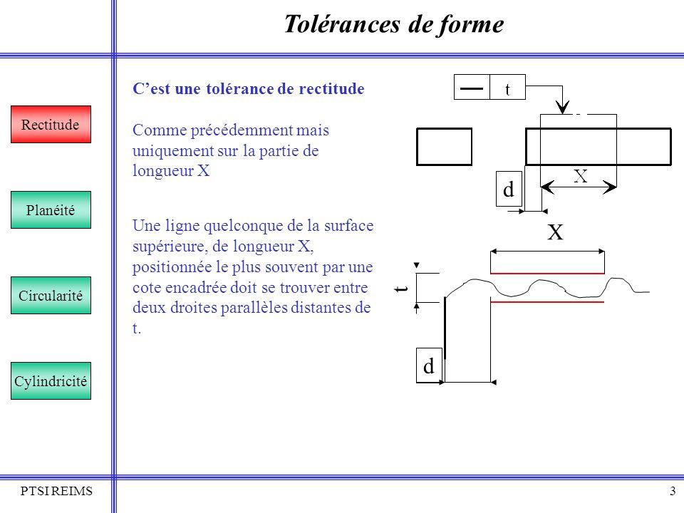 PTSI REIMS4 Tolérances de forme Rectitude Planéité Circularité Cylindricité Cest une tolérance de rectitude Comme précédemment mais uniquement sur une partie quelconque de longueur L t L t L