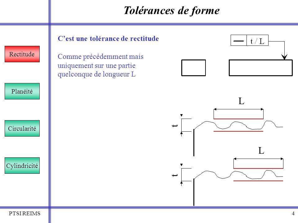 PTSI REIMS5 Tolérances de forme Rectitude Planéité Circularité Cylindricité Cest une tolérance de rectitude La zone de tolérance est limitée par un parallélépipède de section t1 x t2.