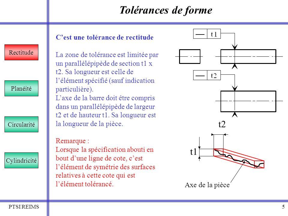 PTSI REIMS5 Tolérances de forme Rectitude Planéité Circularité Cylindricité Cest une tolérance de rectitude La zone de tolérance est limitée par un pa