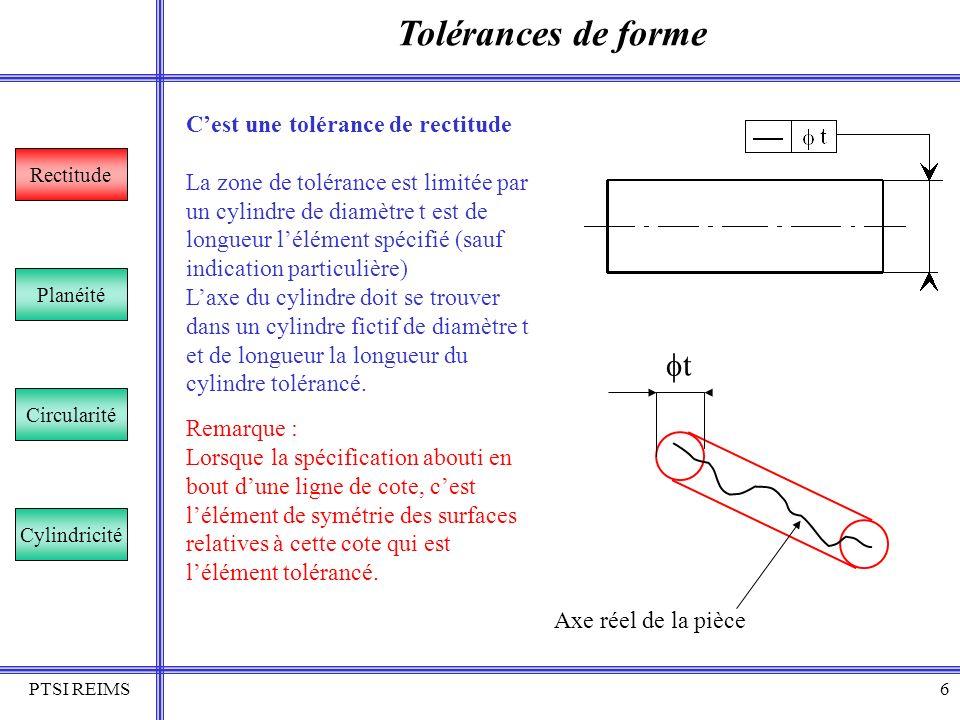 PTSI REIMS7 Tolérances de forme Rectitude Planéité Circularité Cylindricité Cest une tolérance de planéité La zone de tolérance est limitée par deux plans parallèles distants de t.