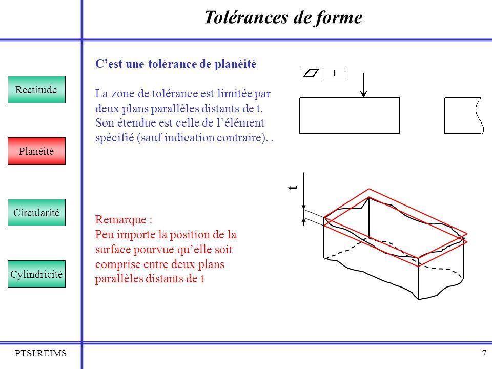 PTSI REIMS7 Tolérances de forme Rectitude Planéité Circularité Cylindricité Cest une tolérance de planéité La zone de tolérance est limitée par deux p