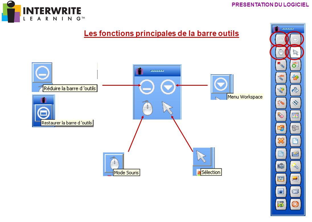 Les fonctions principales de la barre outils PRESENTATION DU LOGICIEL