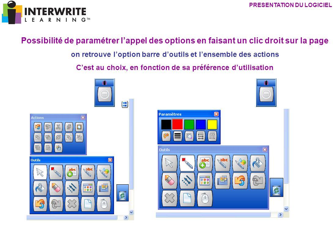 Possibilité de paramétrer lappel des options en faisant un clic droit sur la page on retrouve loption barre doutils et lensemble des actions Cest au c