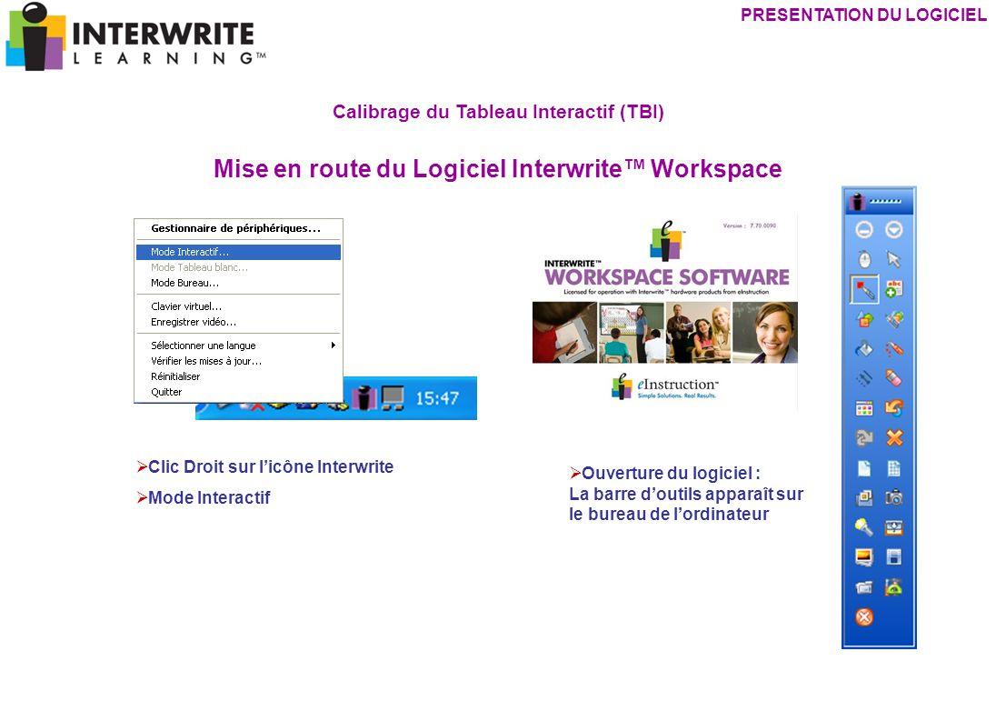 Calibrage du Tableau Interactif (TBI) Mise en route du Logiciel Interwrite Workspace Clic Droit sur licône Interwrite Mode Interactif PRESENTATION DU