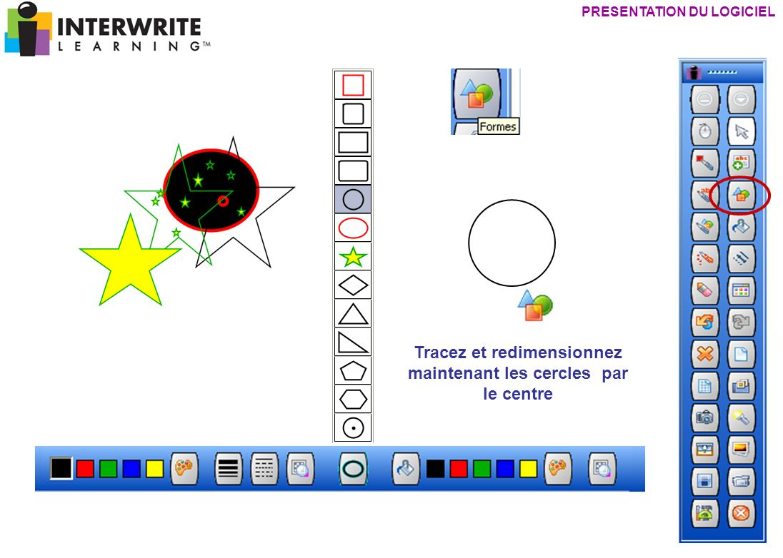 PRESENTATION DU LOGICIEL Tracez et redimensionnez maintenant les cercles par le centre