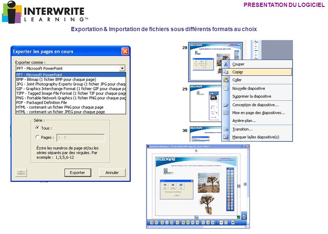 Exportation & Importation de fichiers sous différents formats au choix