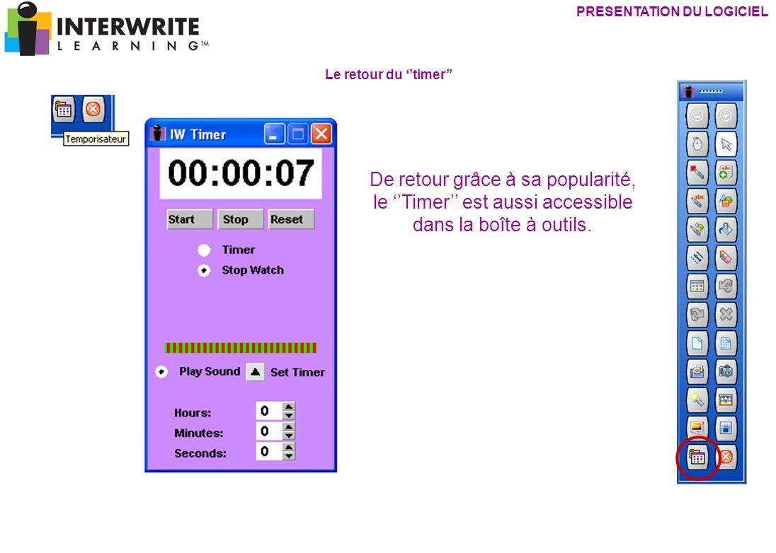 PRESENTATION DU LOGICIEL De retour grâce à sa popularité, le Timer est aussi accessible dans la boîte à outils. Le retour du timer