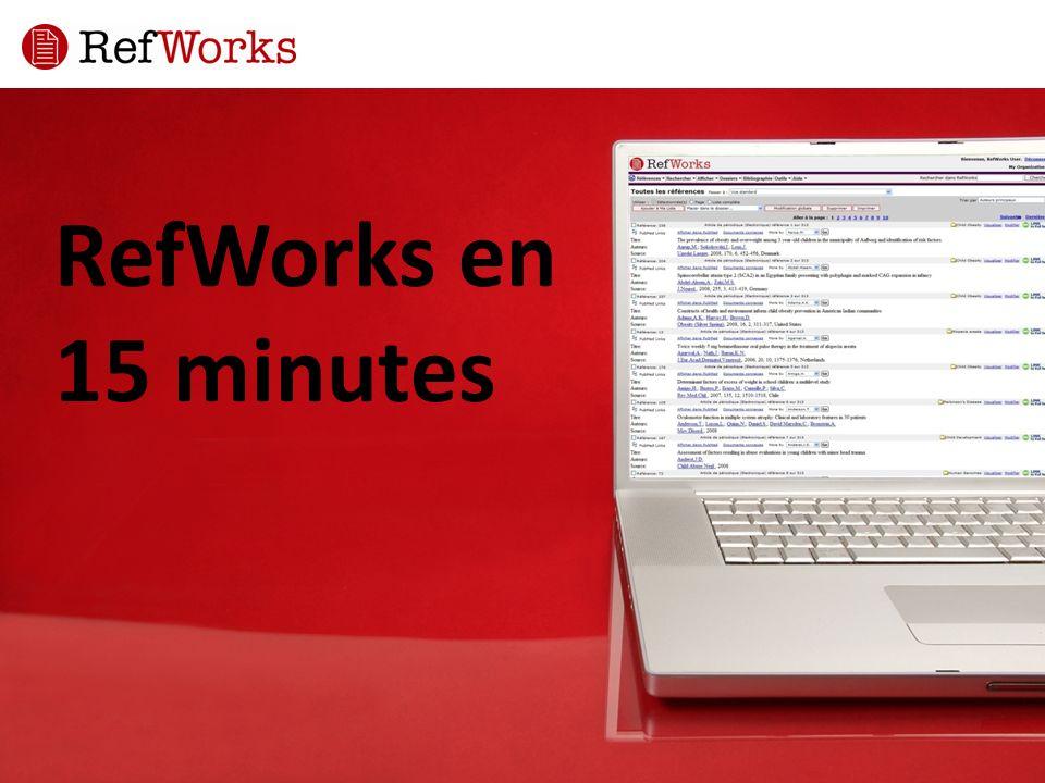 Importer des références Dans RefWorks, cliquez sur Références dans la barre d outils, puis sélectionnez Importer.