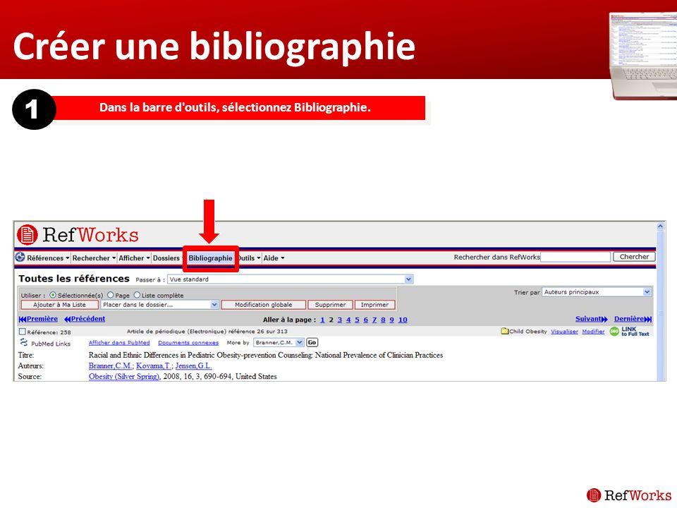 Dans la barre d outils, sélectionnez Bibliographie. 1