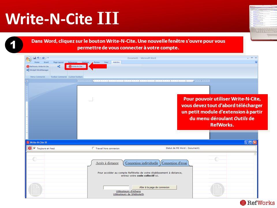 Dans Word, cliquez sur le bouton Write-N-Cite.