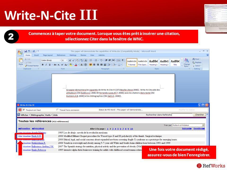 Write-N-Cite III Commencez à taper votre document.