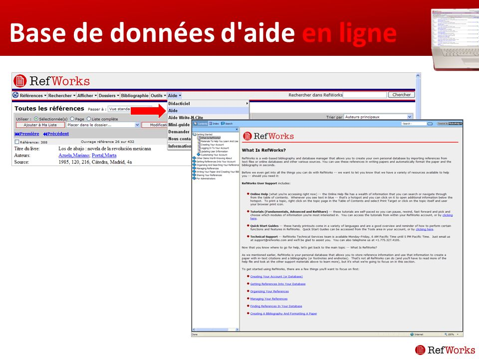Base de données d aide en ligne