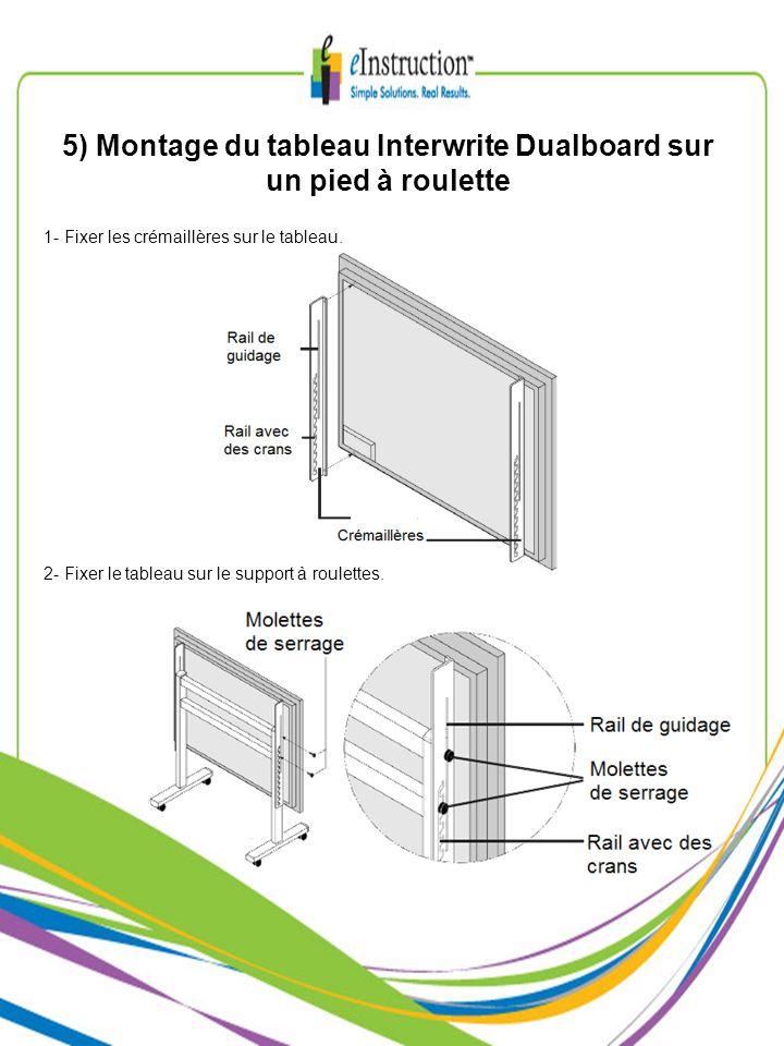 5) Montage du tableau Interwrite Dualboard sur un pied à roulette 1- Fixer les crémaillères sur le tableau. 2- Fixer le tableau sur le support à roule