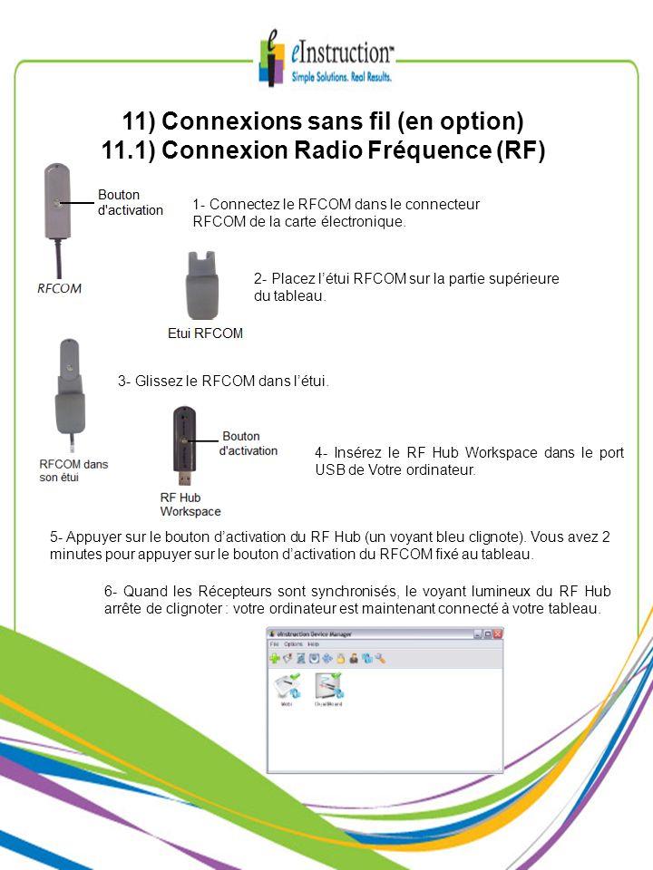 11) Connexions sans fil (en option) 11.1) Connexion Radio Fréquence (RF) 1- Connectez le RFCOM dans le connecteur RFCOM de la carte électronique. 2- P