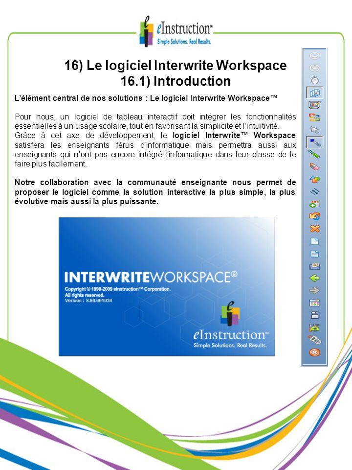 Lélément central de nos solutions : Le logiciel Interwrite Workspace Pour nous, un logiciel de tableau interactif doit intégrer les fonctionnalités es